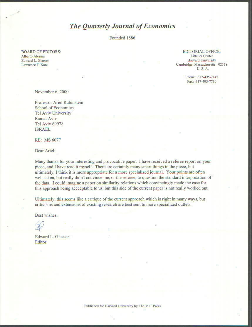 ariel rubinstein vitae from qje see rejection letter